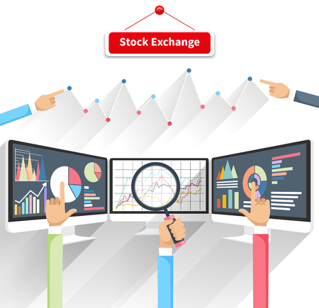 Price movement. Stock exchange rates on monitor. Profit graph diagram. Electronic stock numbers. Profit gain. Business stock exchange. Live online screen. Concept on white background in flat design Çizim