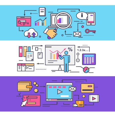estadistica: Analytics estadísticas seo. Vídeo concepto de marketing. Optimización negocio estadística, gestión de medios, planificación de la estrategia, el contenido de la promoción, el proceso de organización del mercado. Líneas delgadas, esbozan iconos planos