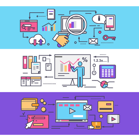 Analytics statistics seo. Video marketing concept. Optimization statistic business, media management, strategy planning, promotion content, market organization process. Thin, lines, outline flat icons