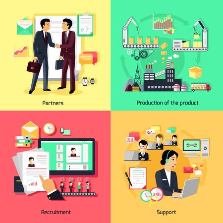 productividad: Concepto de apoyo de reclutamiento y asociación. Negocio de la sociedad, la colaboración profesional y la productividad, la asistencia de trabajo, desarrollo de procesos de estrategia, ilustración gestión profesional Vectores
