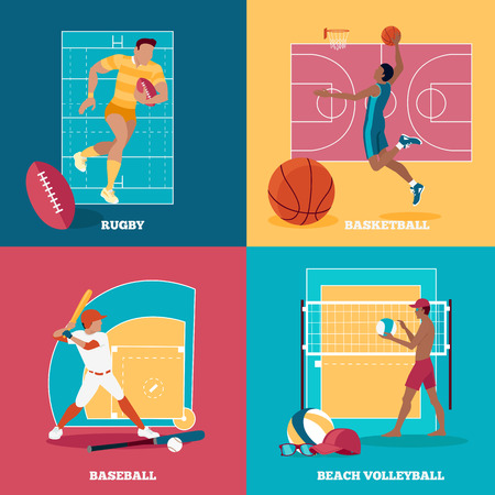 team game: Team active aports with ball. Rugby and baseball, football and basketball,  sport and team game, activity play, competition and leisure, championship and player training illustration Illustration