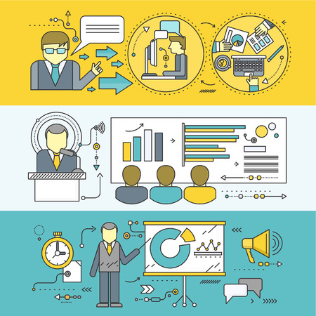 seminar: Professional master class seminar presentation. Conference and training, business communication, infographic and organization, teach and education, meeting and personnel. Set of thin, lines flat icons