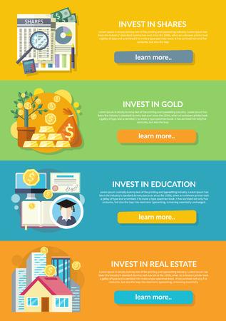 Concepto de inversión en la propiedad de oro educación. Negocio de Finanzas, la riqueza y dinero, banco financiero, depósito de la inversión, la oferta potencial, invierta mercado, la banca ilustración desarrollo de la economía Ilustración de vector