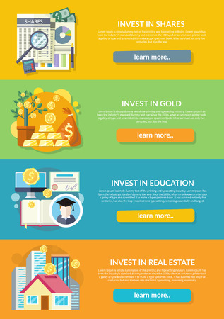 Concept of investment in education gold property. Finance business, wealth and money, financial bank, investing deposit, potential offer, invest market, banking economy development illustration Illustration