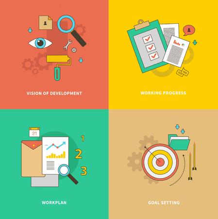 Etapa inicial es la fijación de objetivos. Formación del plan de trabajo. Concepto de pasos del proceso de negocio, worlflow. Visión de Desarrollo. Progreso de trabajo. Conjunto de iconos planos, líneas finas