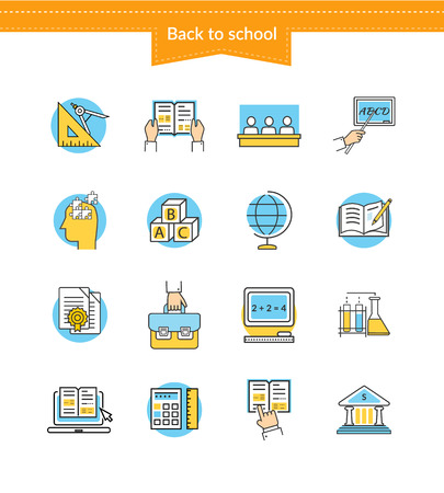 logic: Set of icons back to school. Education symbol, book for college or university, study geometry, reading chemistry, logic training, exam learn, knowledge and learning, teaching science illustration