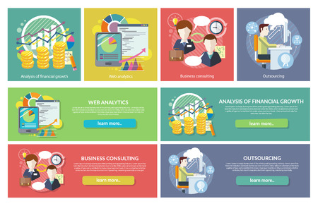 Set of concepts Web Analytics Consulting Outsourcing. Financial growth, consulting and analysis, development finance, statistic and research, optimization business work illustration