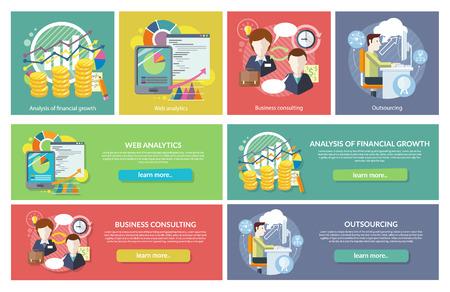 Set van concepten Web Analytics Consulting Outsourcing. Financiële groei, consultancy en analyse, ontwikkeling financiën, statistiek en onderzoek, optimalisatie bedrijf werken illustratie Stock Illustratie