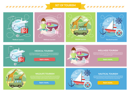 해외로: Set of tourism concepts. Wildlife Tourism. Wellness tourism. Flat design style modern concept of medical services abroad, along with the rest. Sailing vessel in clear blue water. Nautical tourism
