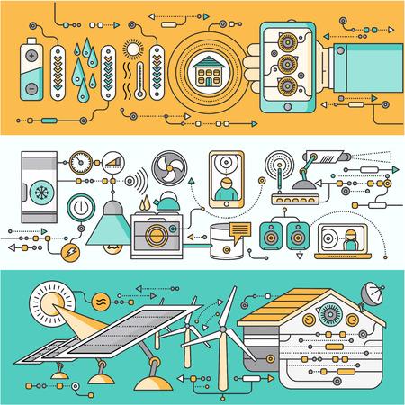 electricidad: Concepto de dispositivo doméstico y control inteligente. Dispositivo de tecnología, la automatización del sistema móvil, el poder energético de monitoreo, la eficiencia eléctrica, temperatura del equipo, ilustración termostato remoto Vectores