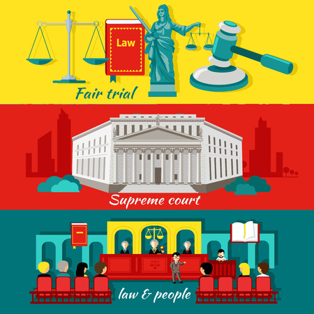 justicia: Concepto alto tribunal y la justicia. Juicio justo, el derecho y las personas, la justicia y el juicio, litigios y jurisdicción, palacio de justicia y la legislación, el enjuiciamiento y el abogado, ilustración veredicto tribunal Vectores