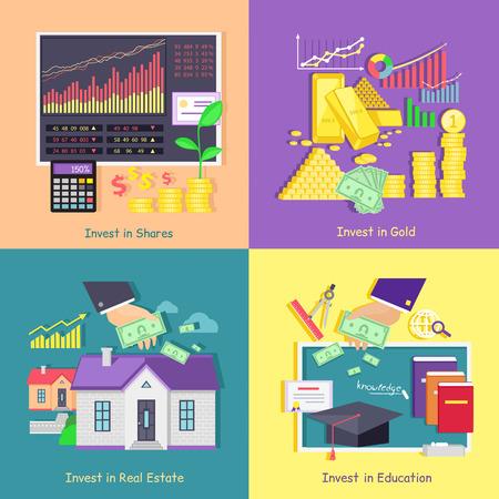 金、研究、不動産投資株式。投資教育とプロパティ、金融事業、富、お金、金融市場、金融経済、開発の成長図を投資を保存します。  イラスト・ベクター素材