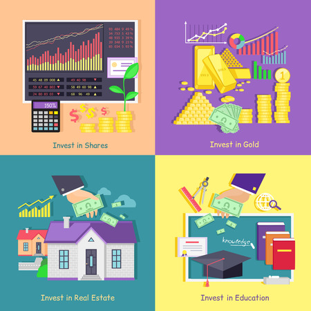 value: Investing in gold, studies, real estate shares. Investment education and property, finance business, wealth and money, financial saving, invest market, banking economy, development growth illustration
