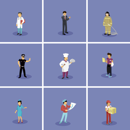 fireman: Characters set popular professions. Stewardess and doctor, artist and fireman, waiter and policeman, cook and businessman, occupation people, job and career illustration Illustration