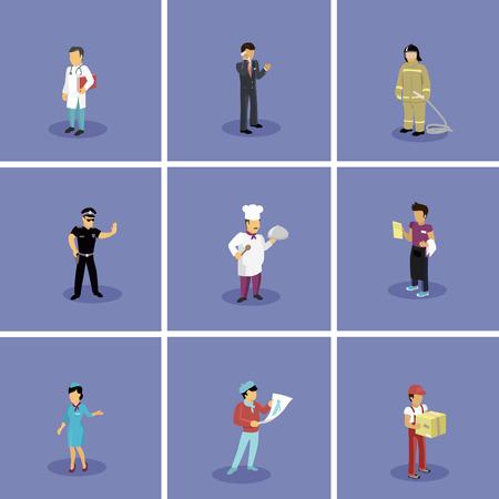 chirurgo: Personaggi impostare professioni popolari. Hostess e medico, artista e vigile del fuoco, cameriere e poliziotto, cuoco e uomo d'affari, occupazione people, lavoro e carriera illustrazione