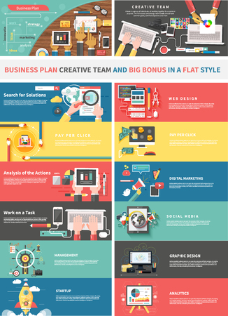 Concept of a business plan and creative team. Startup and analytics, social media, work task, web and graphic design, solution, and pay per click, strategy business illustration Illustration