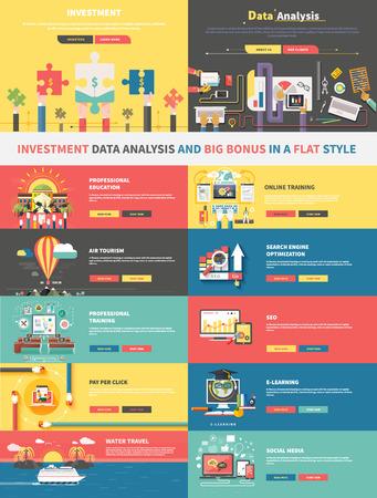 Het concept van de investeringen analyse van gegevens en promotie. E-learning, zoekmachine optimalisatie, lucht toerisme, online onderwijs, het trainen van professionele, SEO, sociale media en financiën illustratie
