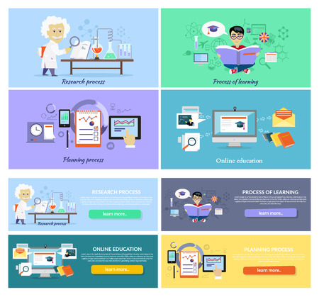 Online-Bildung, Prozessforschungsplanung und des Lernens. Strategie-Konzept, Management-Plan zu erziehen, Verfahren Steuer, Wissenschaft Erfahrung, Ausbildung und entdecken Sie, Brainstorming und Umsetzung