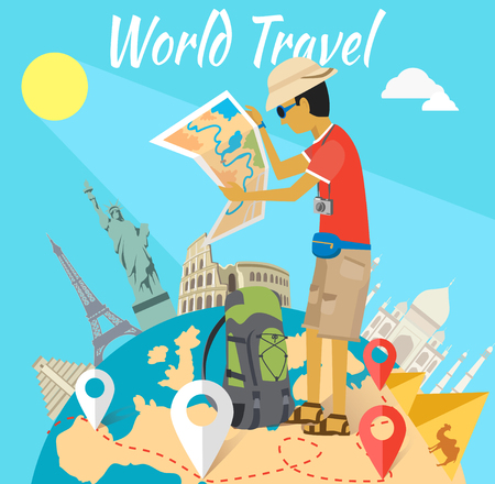 Concept of the world adventure travel. Relaxation journey, leisure and rest tourism, statue liberty, eiffel tower, colosseum and tourist with map, trip global tour illustration