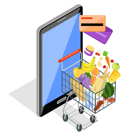 Concept of shopping via the internet shop. Online and smartphone, card pay, web sale, e-commerce and foodstuffs, business technology, convenience and mobile illustration