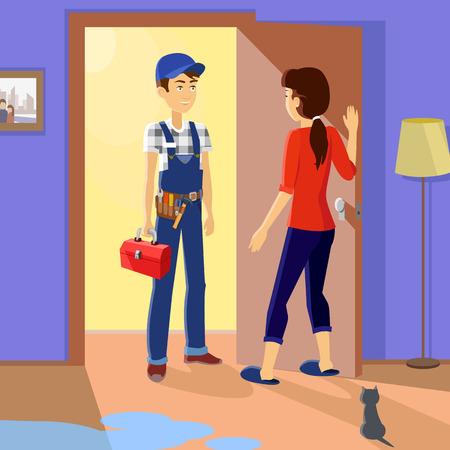 Hospodyňka splňuje hlavní opraváře. Service uniformě, povolání profesní, opravna mechanik práce, stanovení technik, nástroje a dělník, toolbox a údržbář, instalatér nebo opravář ilustrace Ilustrace