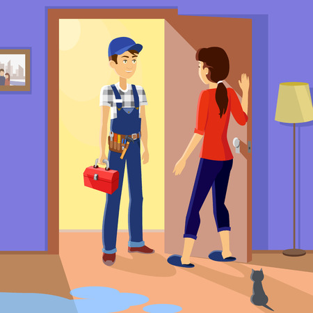 room door: Housewife meets master repairman. Service uniform, occupation professional, repair mechanic work, technician fixing, tool and workman, toolbox and handyman, plumber or serviceman illustration Illustration