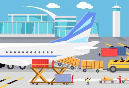transportation: Chargement des conteneurs de fret dans un avion cargo. Transport et livraison, frais de port logistique, l'industrie des services, charge avion, terminal d'aéroport, l'importation et la distribution express cargo illustration