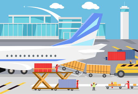 Loading freight containers in a cargo plane. Transportation and delivery, logistic shipping, service industry, load airplane, airport terminal, import express and distribution freighter illustration Illustration