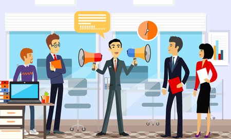 speaking: Head of the company with employees. Leadership announcement, loudspeaker and announce, speaking message, business manager,  professional people illustration