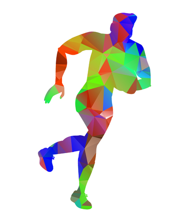 kicking ball: Tri�ngulo estilo bajo pol�gono de una vista frontal bola de jugador de rugby patear en el fondo blanco aislado Vectores