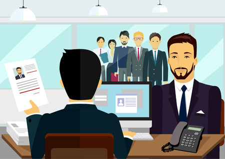 Concepto de contratación de la entrevista de reclutamiento. Mira reanudar el empleador solicitante. Candidato y el reclutamiento, contratar y entrevistador, la toma del examen y la ilustración