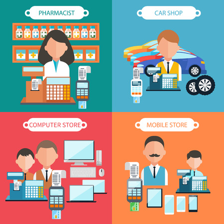 Flat design concept of car shop, mobile store, pharmacist and computer store with item icons on four multicolor banners. Dealer at the cash register