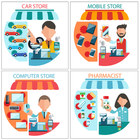 Flat design concept of car shop, mobile store, pharmacist and computer store with item icons isolated on four white banners. Dealer man and woman at the cash register Illustration