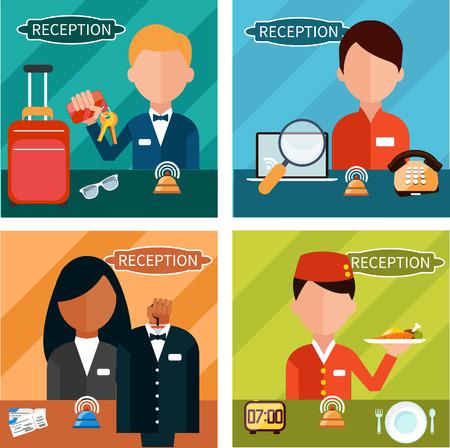 recepcionista: Conjunto de caracteres de recepci�n en diferentes lugares interactivos en hotel, restaurante, teatro. Retrato de recepcionista en el estilo de dise�o plano de cuatro banderas. Hombre y mujer en la mesa