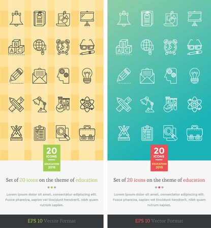 grammar: Set icons on the theme of education. Chemistry and mathematics, grammar and briefcase, alarm clock, teaching letter, bell and pencil, globe and learning symbol illustration. Set of thin, lines icons Illustration