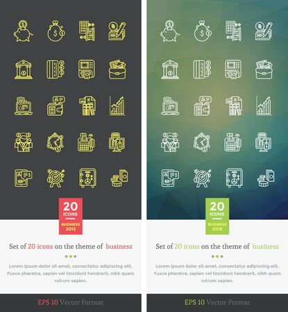 services: Set icons on the theme of business. Capitalization and deposit, moneybox development, organization finance, money coin, income and profit, bank and safe illustration. Set of thin, lines icons