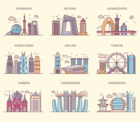 Icons Chinese major cities flat style. Shanghai and china, Beijing and Guangzhou, Hong Kong and Dalian, Tianjin and Harbin, Chongqing and Hangzhou illustration Vectores