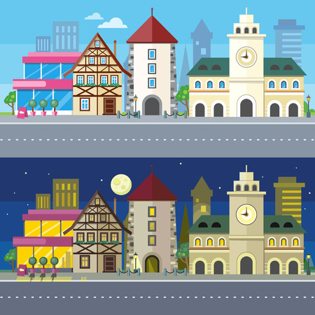 Urban city landscape of night and day. Building architecture, house on town, street and cityscape, home and road, skyscraper and downtown, exterior residential, metropolis panorama illustration