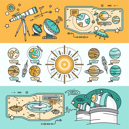 planetarium: Concept of the scientific cosmos flat style. Space and uranus, venus and meteorite, jupiter and neptune, mercury and mars, planetarium and saturn, shuttle and spacecraft illustration