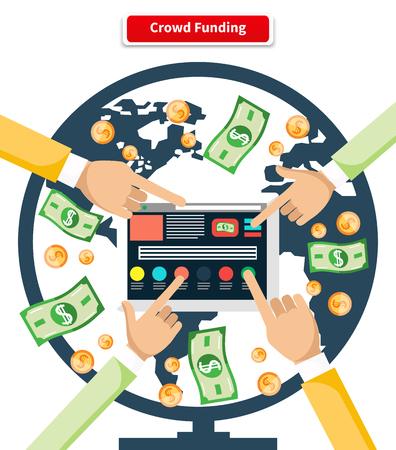 fondos negocios: Multitud Concepto financiar los billetes y monedas. Dinero de negocios y la inversión financiera, la donación de crowdfunding, la financiación de los inversores, el capital financiero, moneda donar, invierten ilustración monetaria Vectores