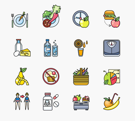 fresh food: Collection of icons on theme diet. Food healthy, fruit apple, fresh, ingredient vitamin vegetarian, vegetable and pills, organic juicy, ripe orange, freshness citrus, calorie and water, illustration Illustration