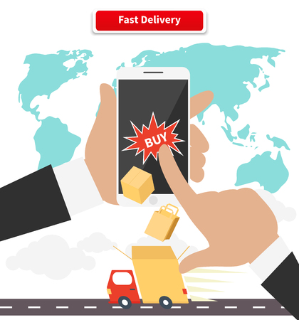 deliver: Buying and fast delivery by smartphone. Online internet retail, web service, e-commerce and purchase, marketing commerce, deliver and receive, transportation and shopping illustration Illustration