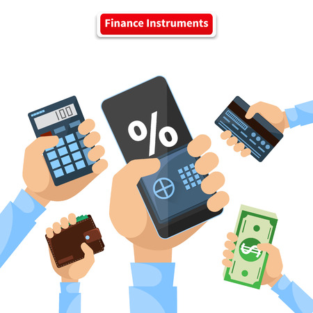 calculator money: Finance instruments calculator smartphone money. Business and dollar, economic banking, investment and wealth, credit card and calculator, wallet and smartphone illustration Illustration