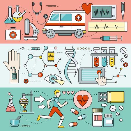 biotecnologia: La tecnología del sistema para la investigación en salud. Biología y química de laboratorio, análisis humano, microscopio y diagnóstico, la biotecnología y la mHealth exploración e ilustración farmacología. Conjunto de finas, líneas de iconos Vectores