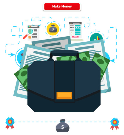 make an investment: Concept make money. Briefcase with income. Cash investment, financial wealth, finance profit, growth rich, banking and income, currency and economy illustration Illustration