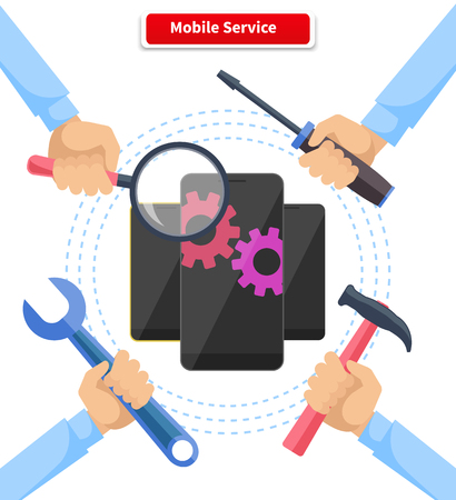 hardware configuration: Mobile service repair gadgets. Technology and device smartphone, electronic equipment, help and assistance, tool spanner and diagnostic, instrument illustration