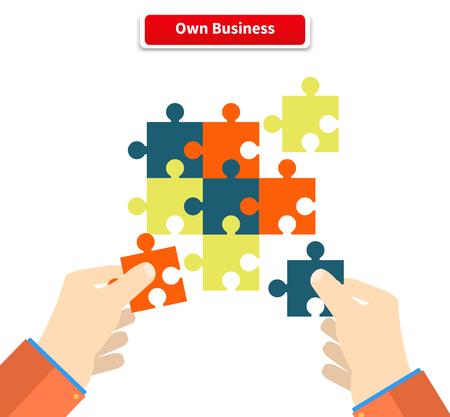 Het creëren of het bouwen van een eigen bedrijf concept. Puzzelstukje, bouw en ontwikkeling, bouw construct, idee en succes, oplossing en groei, uitdaging en puzzel illustratie