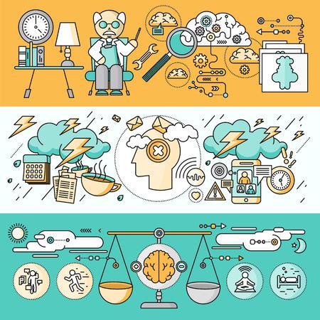 Diagnóstico de diseño plano psicología cerebro. Terapia de Psiquiatría, el desorden y la meditación, la emoción estrés, la salud mente humana, el intelecto y la medicina, mental y neurología. Conjunto de finas, líneas de iconos