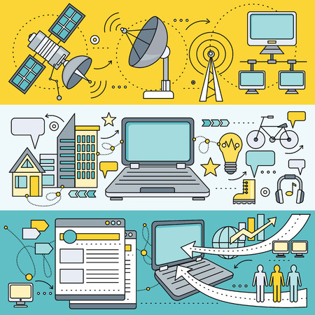 interconnection: Satellite internet global network providers. Technology wireless, interconnection web, traffic online, connection and communication, wifi webpage, flow information, worldwide. Set of thin, lines icons