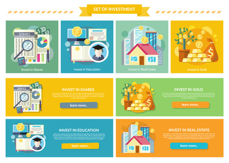 investing: Set concept investment flat style. Gold and education, real estate and property, shares investing, business and wealth, invest potential offer, studies and growth, fund and profit, money illustration Illustration